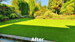 back garden with Easigrass artificial grass and large football goal